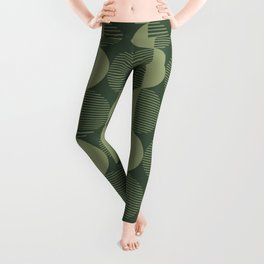 Abstract Circles pattern green  Leggings
