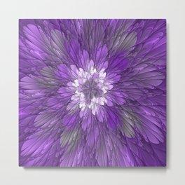 Psychedelic Purple Flower, Fractal Art Metal Print