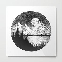Moonlit Alaska Metal Print