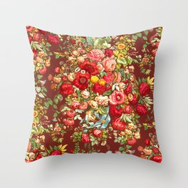Classic Burgundy Wine Floral Chintz Design Throw Pillow