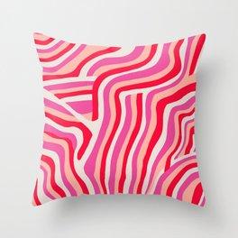 pink zebra stripes Throw Pillow
