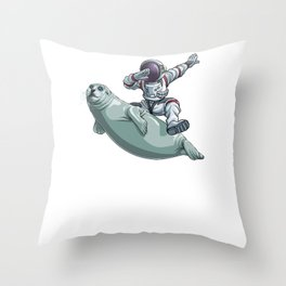 I Need More Space Astronaut Sea Lion Outserspace Science Geek Throw Pillow