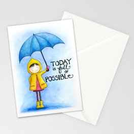 Today is Full of Possible   Hand drawn Girl with Umbrella   Blue, Yellow and Pink Stationery Cards