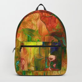 Multi Colored Yellow Green Abstract Backpack