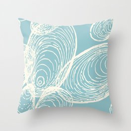 Shells Design in Coastal Blue and Cream Throw Pillow