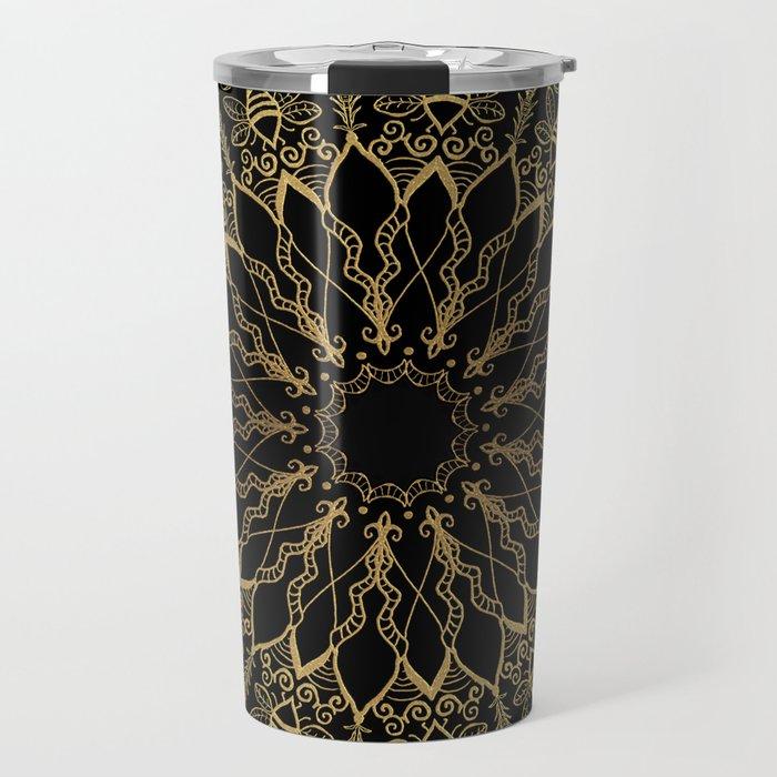 Golden Bee Mandala Travel Mug