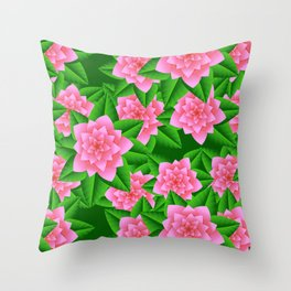 Ice Pink Camellias and Green Leaves Throw Pillow