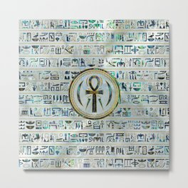 Abalone Shell Egyptian Ankh Cross symbol Metal Print