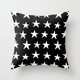 Star Pattern White On Black Throw Pillow