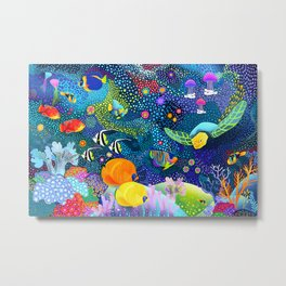 Ocean Tropical Fish Life Metal Print