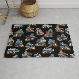 Car Crazy Classic Hot Rod Muscle Cars Cartoons Seamless Pattern Rug