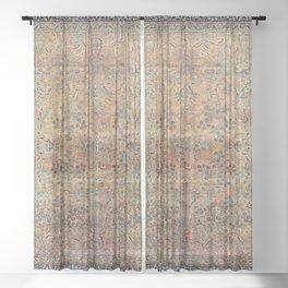 Kashan Floral Persian Carpet Print Sheer Curtain