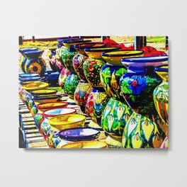 Talavera Pottery Jars for Sale in New Mexico Metal Print