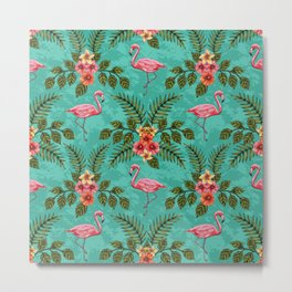 Flamingos & Flowers Pattern w/ Plumeria and Hibiscus Metal Print