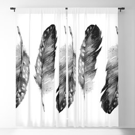 Three Feathers Black And White Blackout Curtain