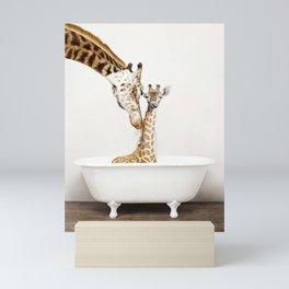 Bathitude - Mother & Baby Giraffe in a Vintage Bathtub (c) Mini Art Print