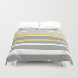 Stripe Abstract, Sun and Beach, Yellow, Pale, Aqua Blue and Gray Duvet Cover