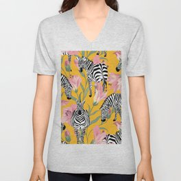 Striped For Life, Zebra Mid-Century Modern Bohemian Illustration, Jungle Tropical Eclectic Painting Unisex V-Neck