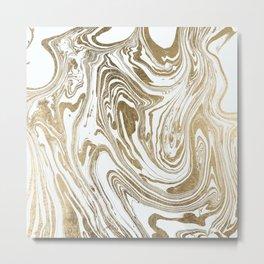 Stylish white faux gold foil elegant marble Metal Print