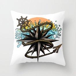 Nautical Splash Throw Pillow