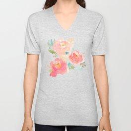 Watercolor Peonies Summer Bouquet Unisex V-Neck