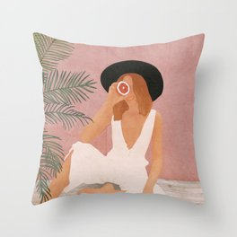 Woman with Oranges Throw Pillow