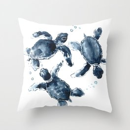 Turtle Swimming Sea Turtles indigo blue turtle art Throw Pillow