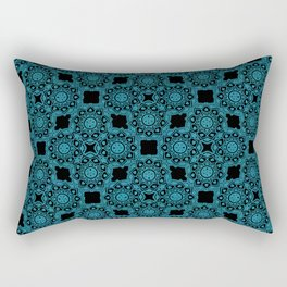 Turquoise and Black Flower Doodle with Digital Glitter Effect -Graphic Design Pattern Rectangular Pillow