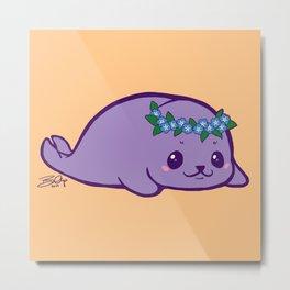 Baby Seal has Forget Me Nots Metal Print