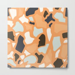 Abstract Terrazzo - Ginger Orange Metal Print