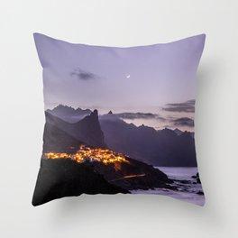 Sea village at night   Tenerife, Spain, Europe   purple   Travel photography   art print Throw Pillow