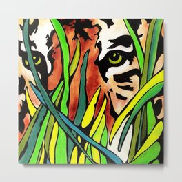 Tiger Eyes Looking Through Tall Grass By annmariescreations Metal Print