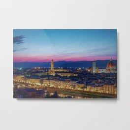Twilight - Arno River, Florence Italy Landscape by Jeanpaul Ferro Metal Print