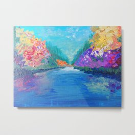 AROUND THE RIVERBEND - Autumn River Modern Nature Pochahontas Abstract Landscape Acrylic Painting Metal Print