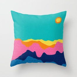 Over The Sunset Mountains III Throw Pillow