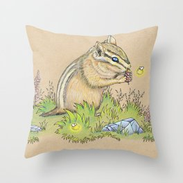 Snacking Chipmunk Throw Pillow