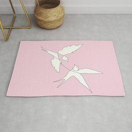 Two Swallows Line Art Rug