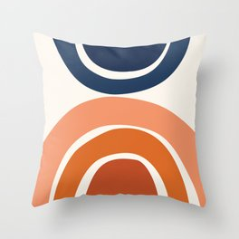 Abstract Shapes 9 in Burnt Orange and Navy Blue Throw Pillow