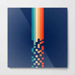 Classic 70s Style Abstract Rainbow Retro Stripes Pixel Drops - Ayako Metal Print