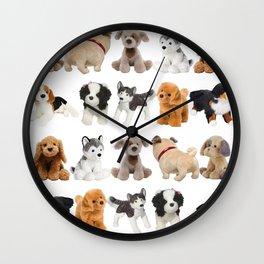 Fluffy Puppy Dog Kids Pattern Wall Clock