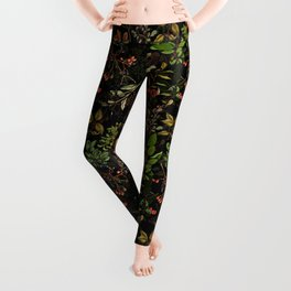 Vintage & Shabby Chic - vintage botanical wildflowers and berries on black Leggings