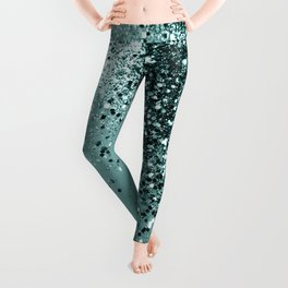 Teal Mermaid Ocean Glitter #1 #shiny #decor #art #society6 Leggings