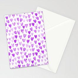 Watercolor Hearts purple pantone love pattern design minimal modern valentines day Stationery Cards