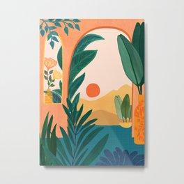 Santa Fe Oasis / Desert Landscape with Plants Metal Print