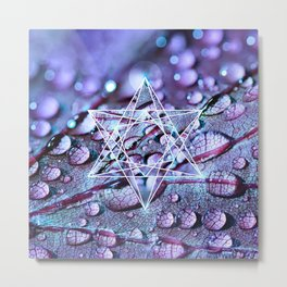 Metatron's cube sacred geometry on purple leaf with drops of water Metal Print