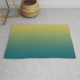 Dark Yellow Grid Gradient on Tropical Dark Teal Inspired by Sherwin Williams 2020 Trending Color Oceanside SW6496 Rug