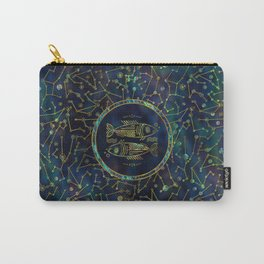 Pisces Zodiac Gold Abalone on Constellation Carry-All Pouch