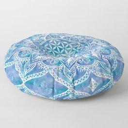 Flower of Life in Lotus - Watercolor Blue Floor Pillow