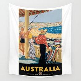 1929 Australia Bondi Beach Travel Poster Wall Tapestry