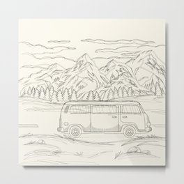 Mountain Road Linescape Metal Print